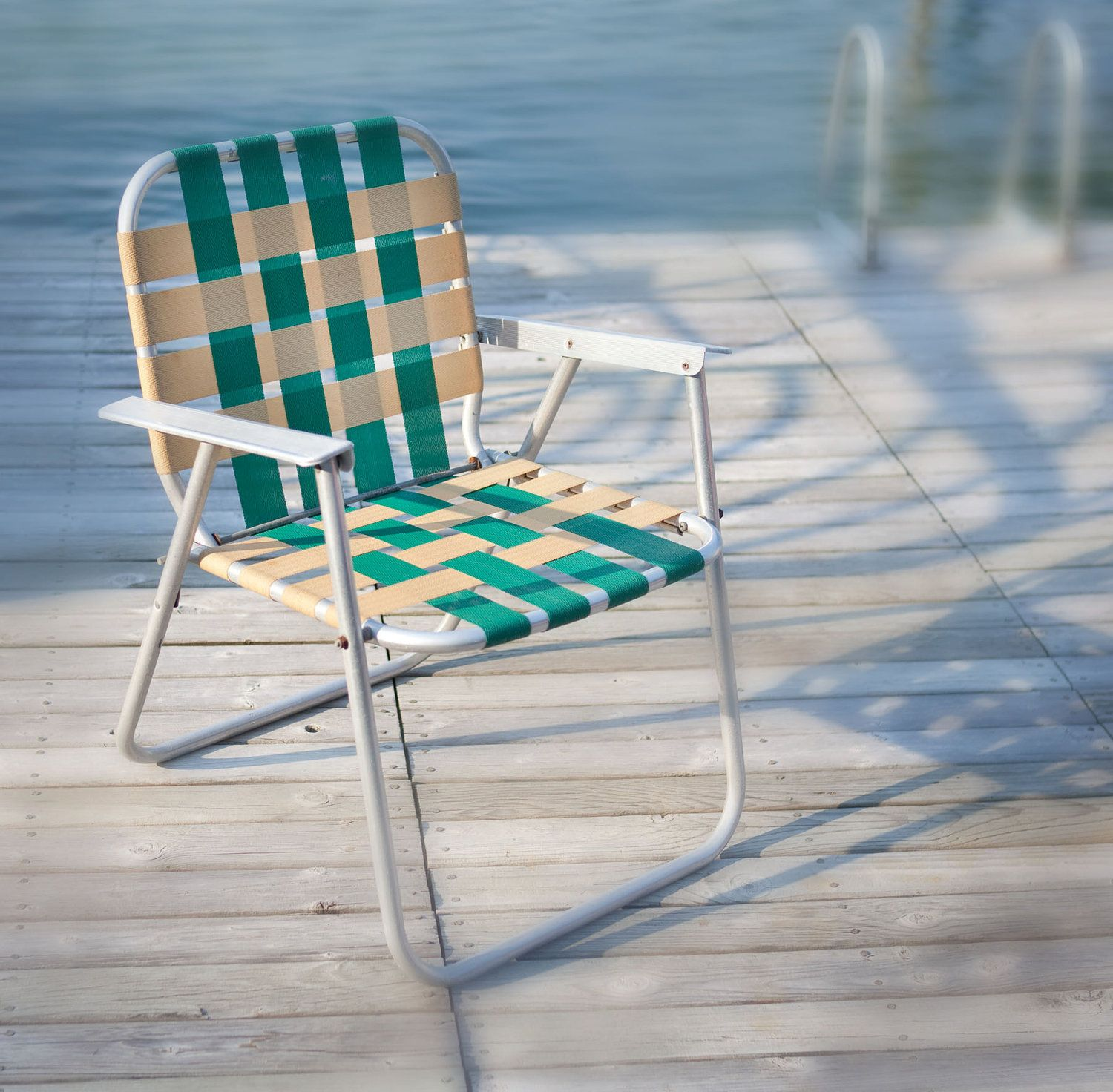 Iconic 1960 S Lawn Chair Aluminum Frame With Green White Webbing