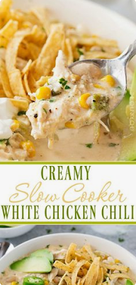 CREAMY CROCKPOT WHITE CHICKEN CHILI | DRINK & FOOD RECIPES #whitechickenchili