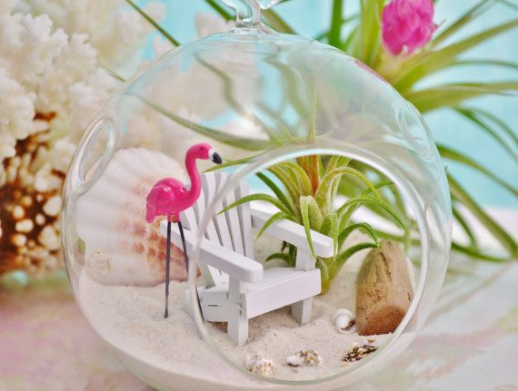 Beach Terrarium Beach Chair Flamingo Small Glass Globe