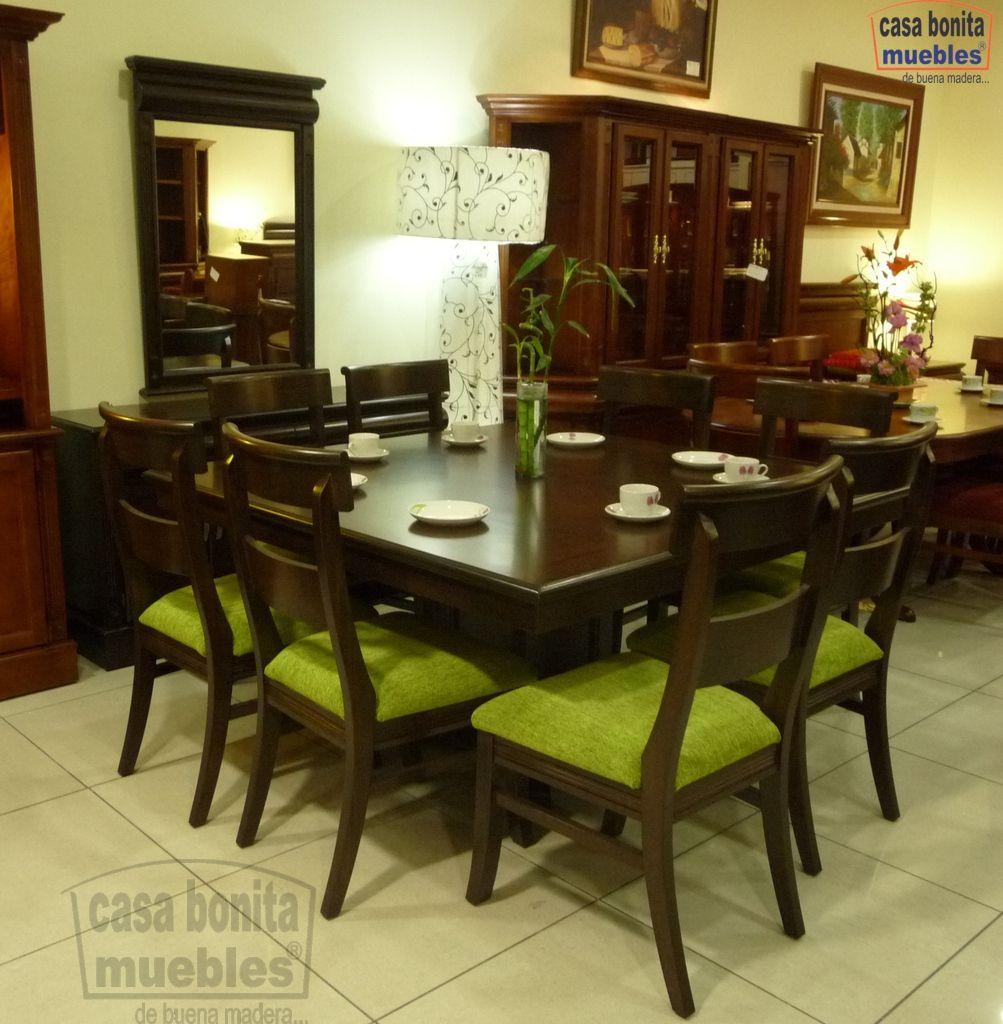 Comedor Dubai 150X150 8 Sillas Burdeos  Casa Bonita Muebles Cool Dining Room Furniture Dubai Inspiration