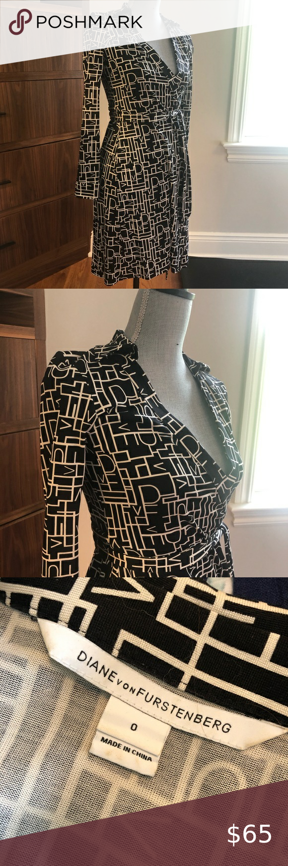 "Photo of Diane Von Furstenberg New Jeanine Silk Wrap Dress Black and white DVF ""New Jea…"