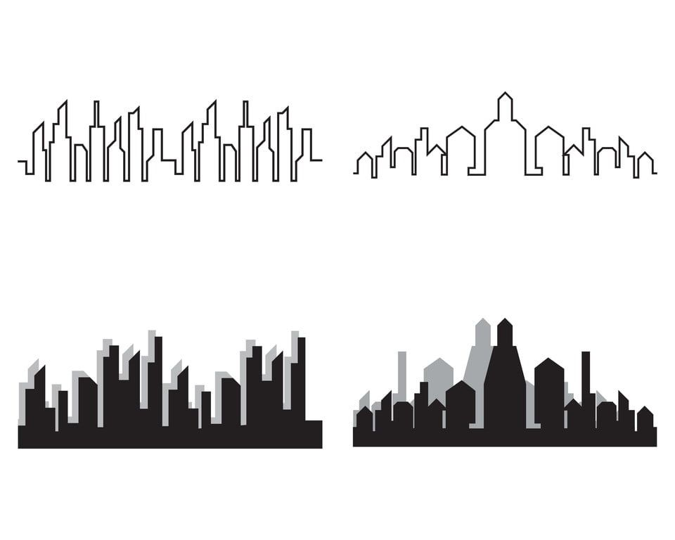 Modern City Skyline City Silhouette Vector Illustration In City Clipart City Icons Modern Icons Png And Vector With Transparent Background For Free Download City Icon Silhouette Vector City Silhouette