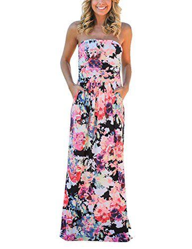 1d80416d6a2 Modetrend Femmes Bohème Longue Maxi Robe de Plage Robes Bustier été Floral  Imprimé Sans Bretelle Robe-Rouge-M
