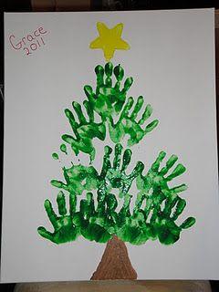 handprints on canvas to make an everlasting Christmas tree