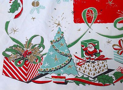 vintage christmas tablecloth santa leacock gift box atomic aqua blue shiny brite