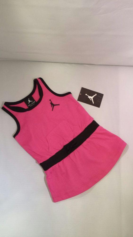NWT Nike Baby Girl Air Jordan Fuschia & Black Dress Outfit 6-9 Months #