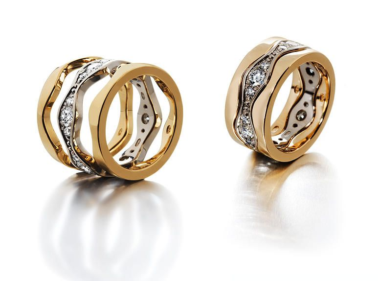 Saarikorpi Design, Wave III rings, 18K white and yellow gold, W/VS diamonds