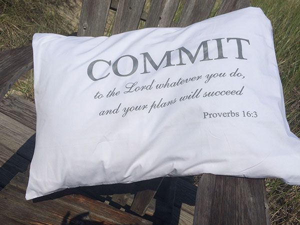 "Pillowcase ""COMMIT to the Lord whatever you do, and your plans will succeed.""   Colors :  Grey, Navy and Gold"