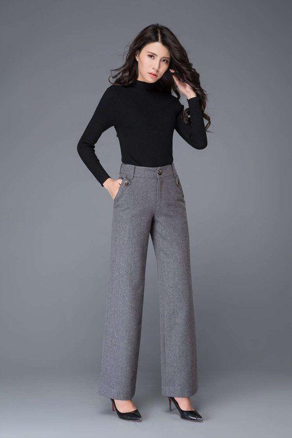 2989216ba66b0 Gray wool pants, High waisted pants, maxi pants, wool pants, wide ...