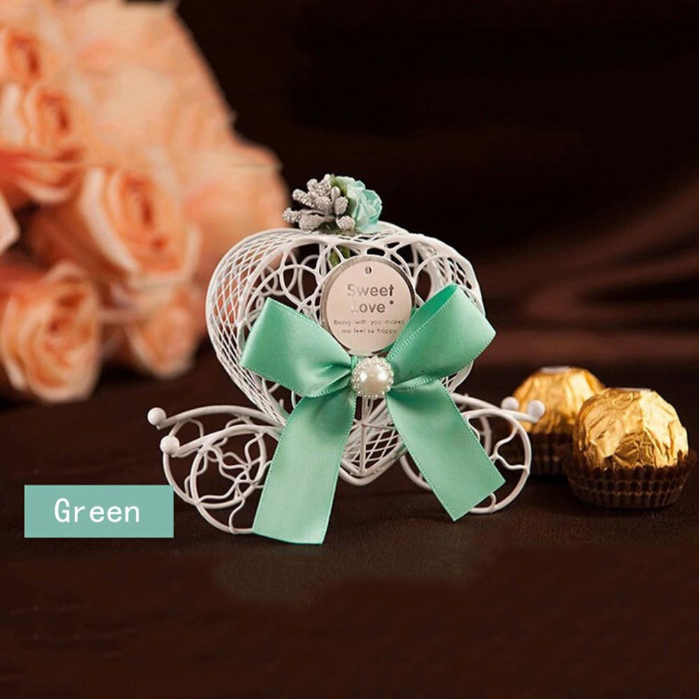 5PCS Cinderella Carriage Wedding Favor Chocolate Candy Box Hollow Gifts Baby Shower Party Decoration