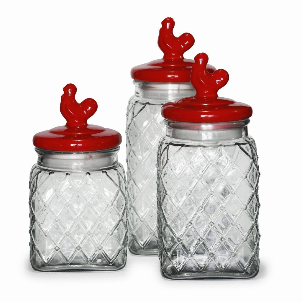Kitchen Canister Sets Red Glass