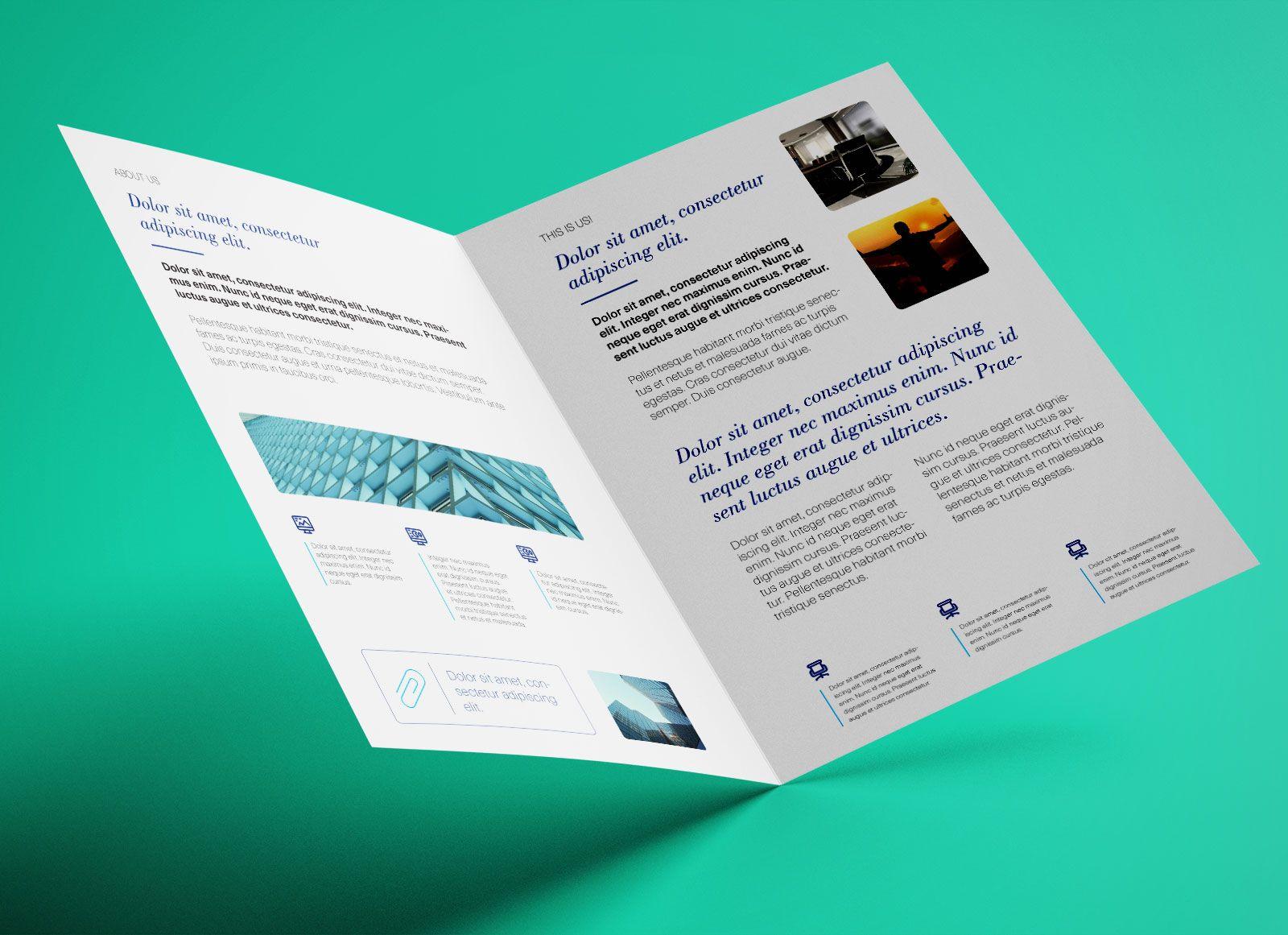 Free Bi Fold A4 Brochure Mockup Psd Brochure Template Brochure