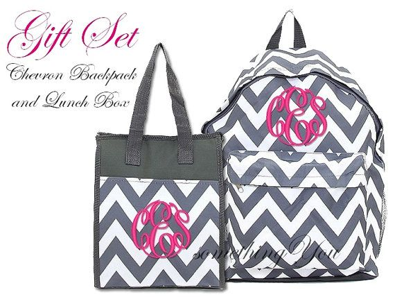 fc56c4dd3a47 Matching Gift Set - Chevron Monogrammed Backpack and Lunchbox Tote -  Personalized Initials Name Insulated stripes