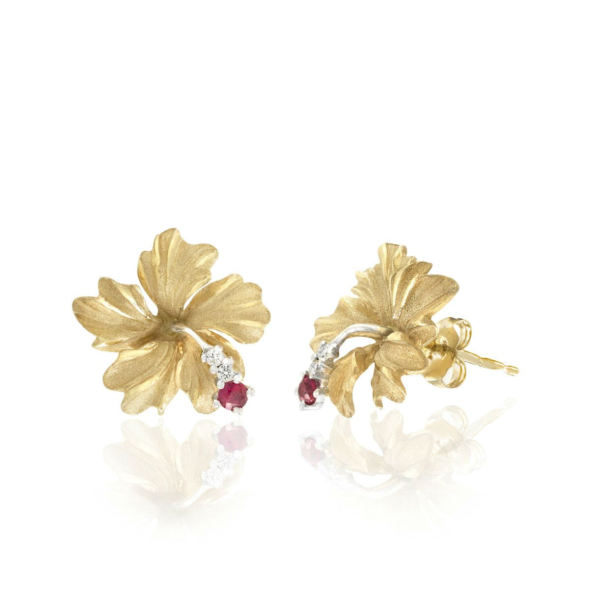 Denny Wong Two Tone Royal Hibiscus Earrings Gold Wedding Jewelry Necklace Hibiscus Black Hills Gold Jewelry