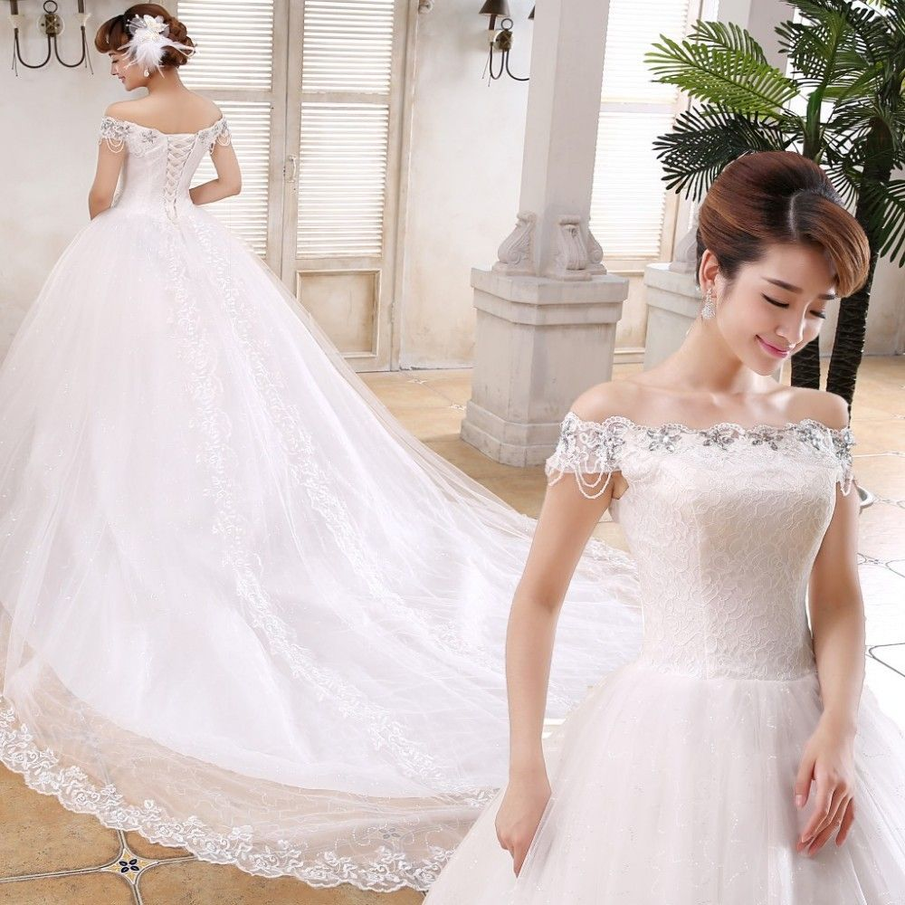Whole Korea Style Beaded Lace Bridal Wedding Dress Gown With Fish Tail
