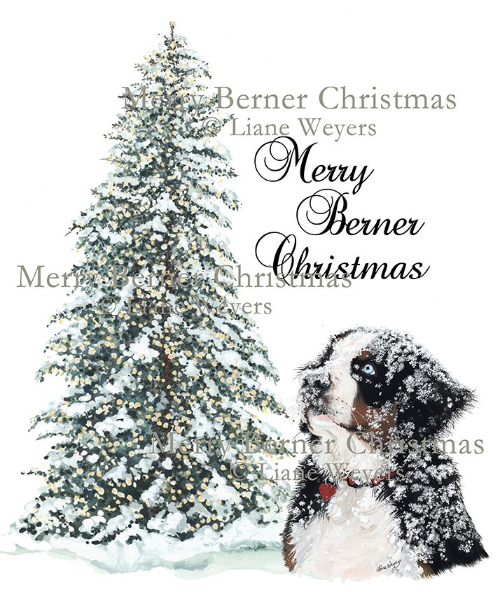 Merry Berner Christmas Sherlock Bernese Mountain Dog artwork by Liane Weyers