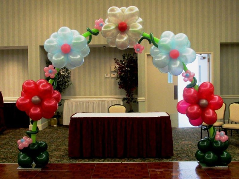 Archs balloon decoration click on any image to enlarge for Balloon decoration for stage