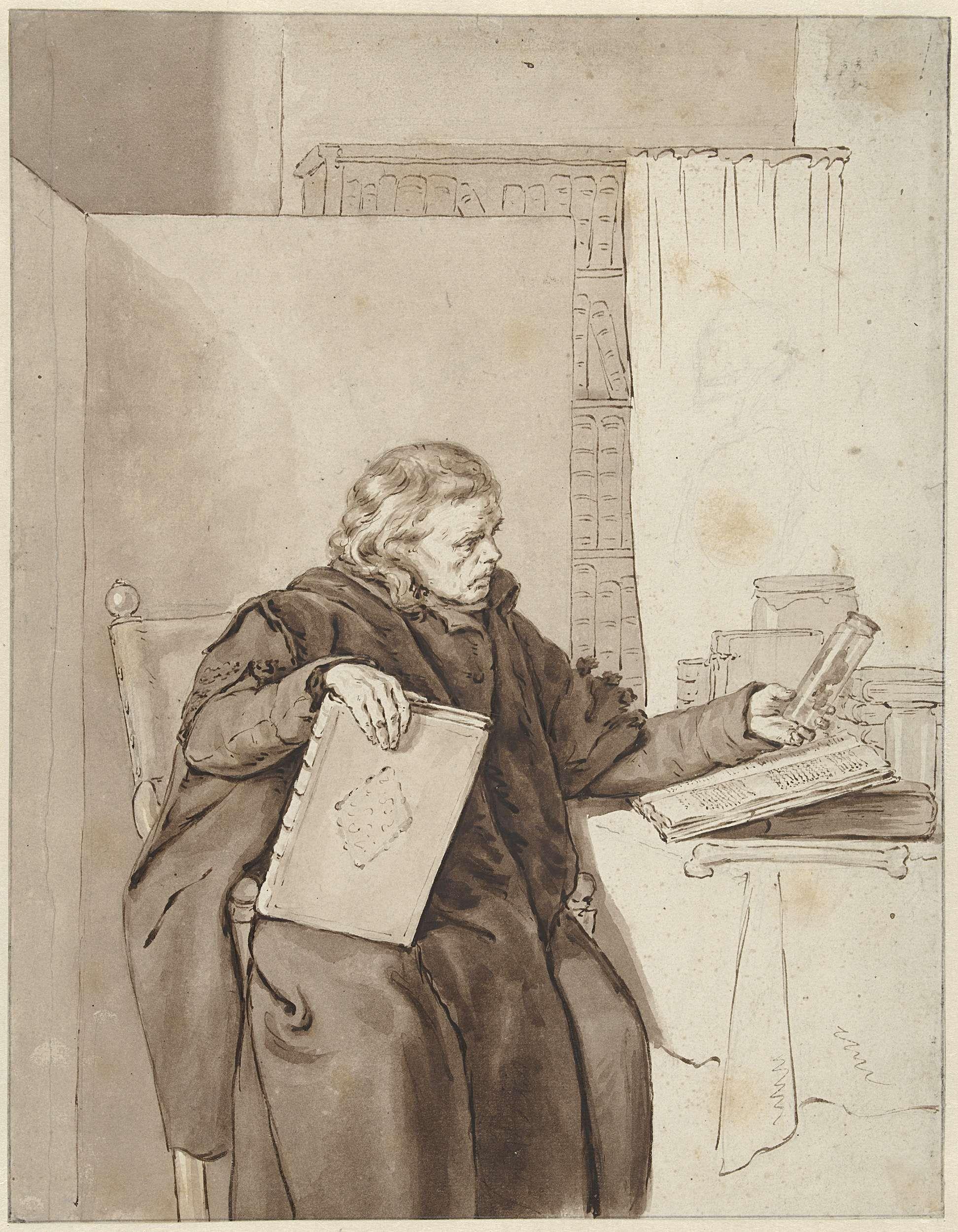 Abraham van Strij (I) | Portret van een oude man in een studeervertrek, Abraham van Strij (I), 1763 - 1826 | Portret van een oude man in een studeervertrek; in de rechterhand een boek, in de linkerhand een fles met een anatomisch preparaat.