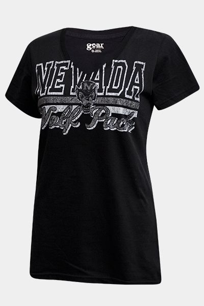 Gear Womens Mia V Neck Tee Nevada Top Hat Wolf Pack | Nevada Wolf Shop