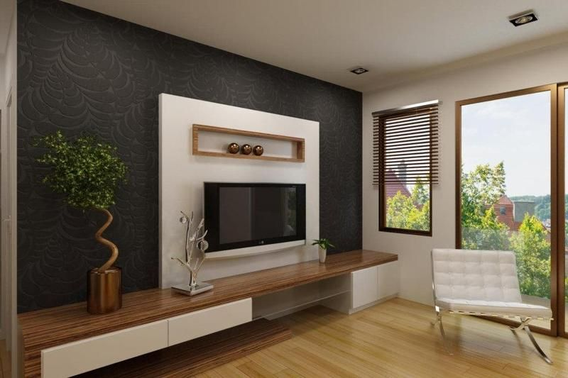 Elegant White Tv Cabinet With Contrast Wallpaper Ipc Lcd Tv - Bedroom design with lcd tv
