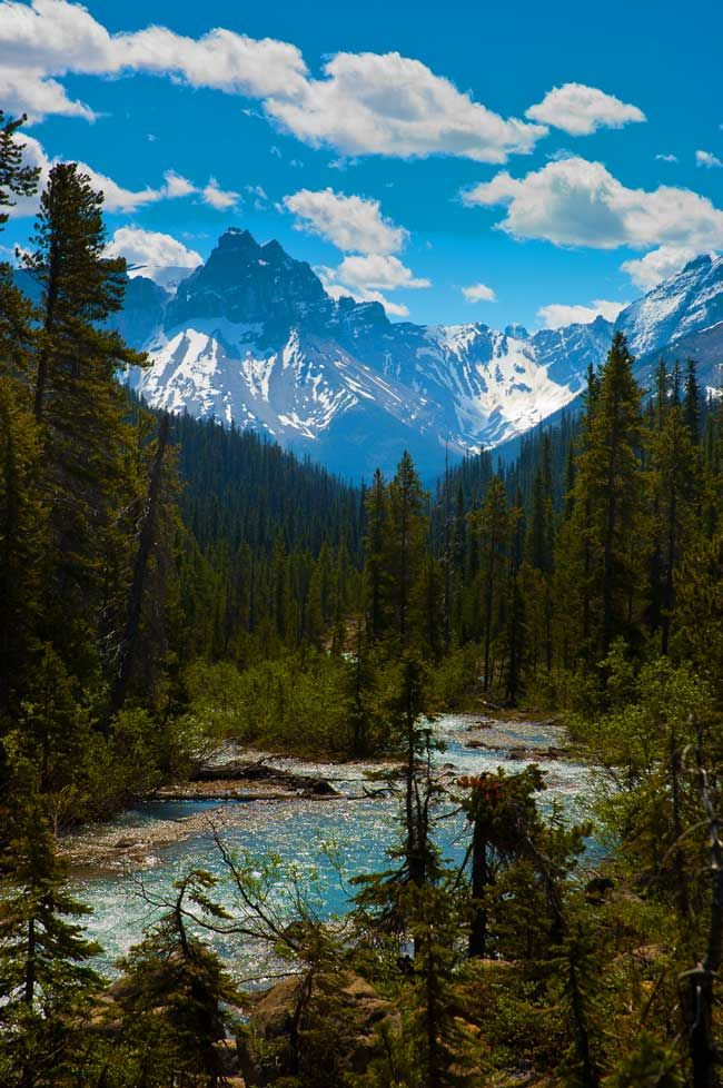 View of the Rocky Mountains seen from Takakkaw Falls in Yoho National Park…