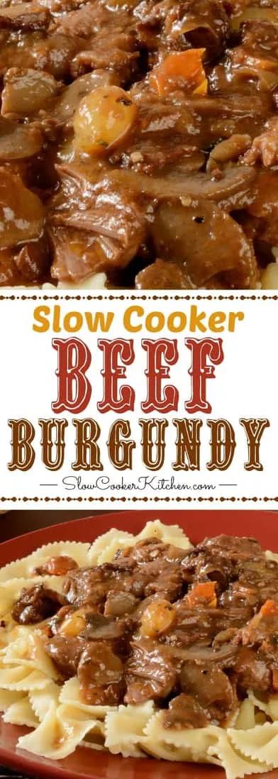 Slow Cooker Beef Burgundy (Crock Pot, Instant Pot, Freezer Meal)