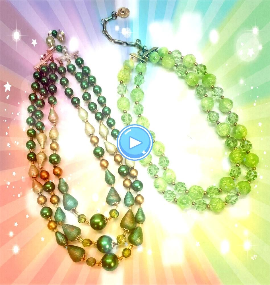 50s Lisner Green Crystal  Lucite  Japan 3Strand 2 Holiday Bead NecklacesVtg 50s Lisner Green Crystal  Lucite  Japan 3Strand 2 Holiday Bead Necklaces Progress video of a l...