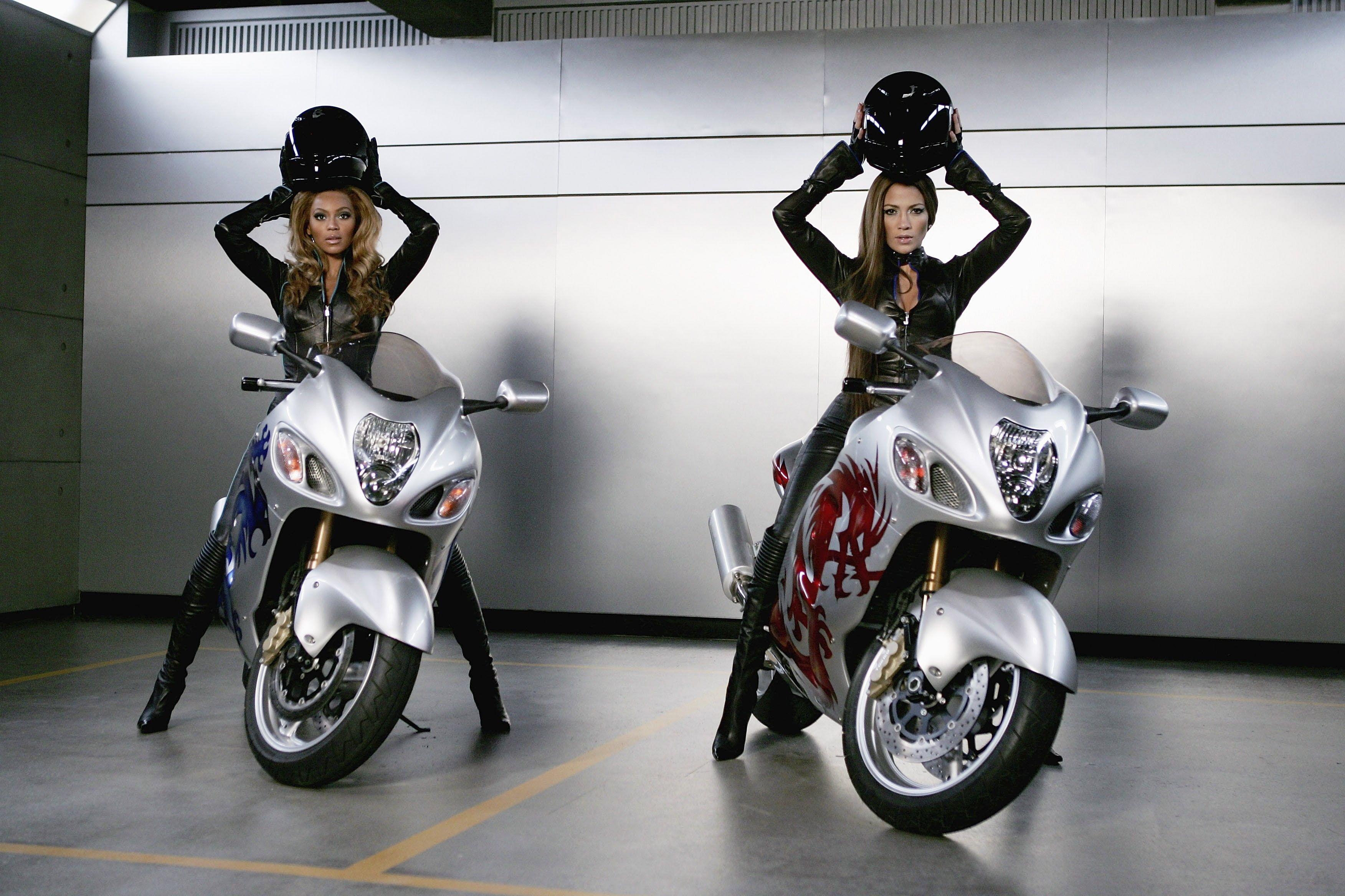 women jennifer lopez beyonce knowles motorbikes leather suit suzuki hayabusa 350…