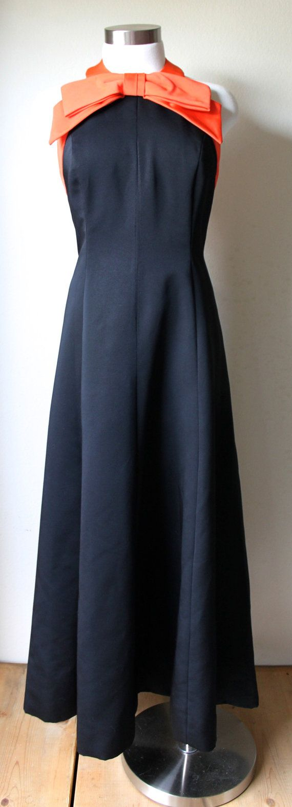 Stylish vintage s black gown with orange by vintagerosemond