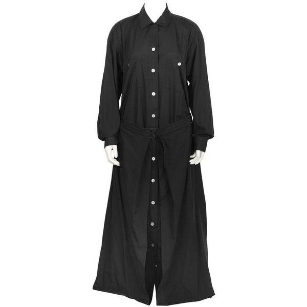 Preowned 1980's Issey Miyake Black Cotton Maxi Dress With Foldover Hem ($995) ❤ liked on Polyvore featuring dresses, black, balloon dress, cotton dress, issey miyake dresses, issey miyake and maxi dress