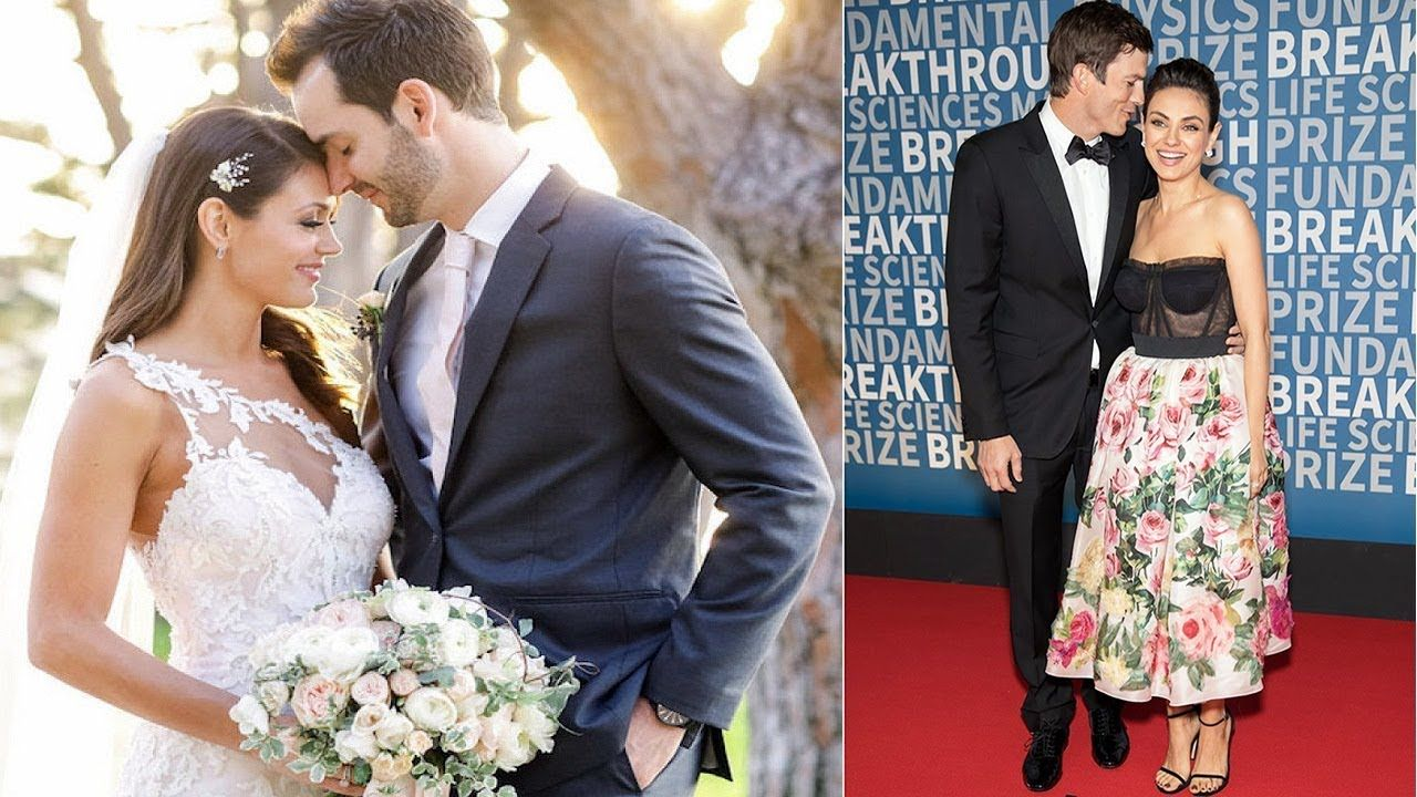 Mila Kunis And Ashton Kutcher Just Made Their First Red Carpet Appearanc Wedding Dresses Lace Red Carpet Wedding Dresses