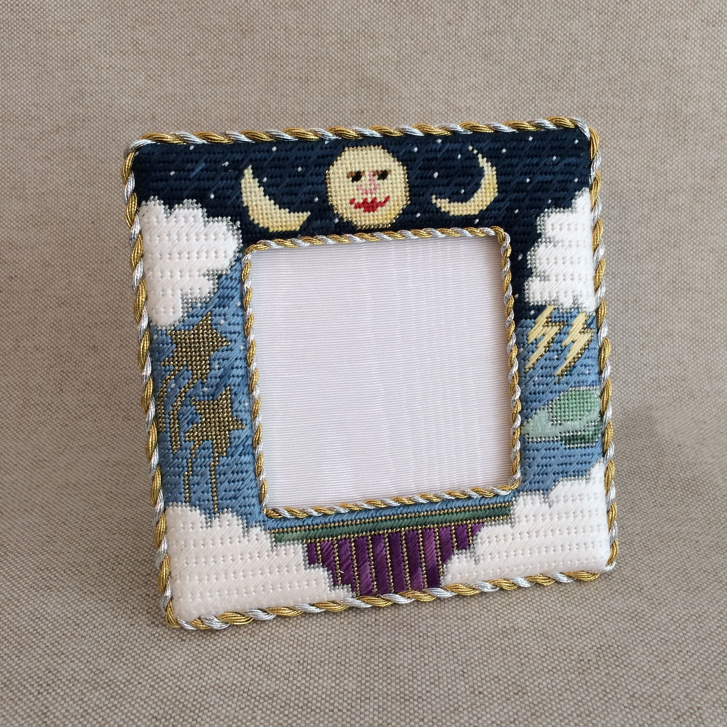 Man in the moon needlepoint frame finishing ~ Canvas by Lani ...