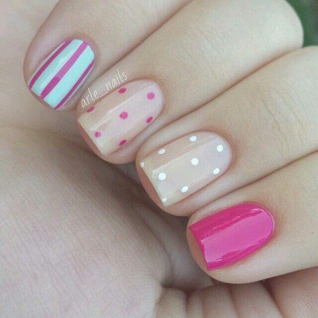 Puntos blanco y rosa   Uñas   Pinterest   Blanco, Puntos y Diseños ...
