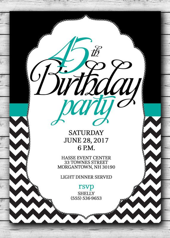 45th Birthday PARTY Invitation Black with a by ScriptureWallArt - birthday invitation templates