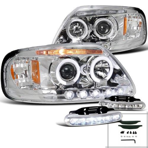 Spec D Tuning For 1997 2003 Ford F150 Chrome Halo Projector Headlights Led Driving Fog Lamps Left Right 1997 1998 1999 2000 2001 2002 2003 Projector Headlights Fog Lamps Led Fog Lights