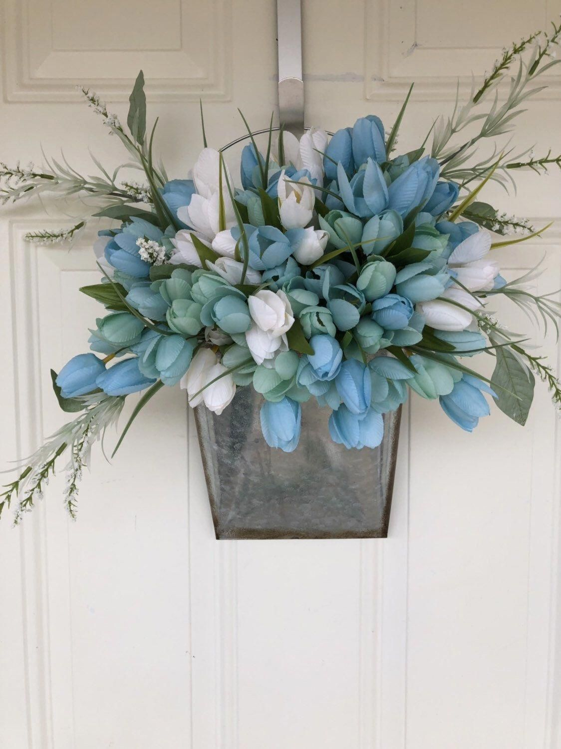 Excited to share this item from my #etsy shop: Tulip bucket, spring tulip wreath, spring tulip door bucket, tulip door arrangement #springDecorating