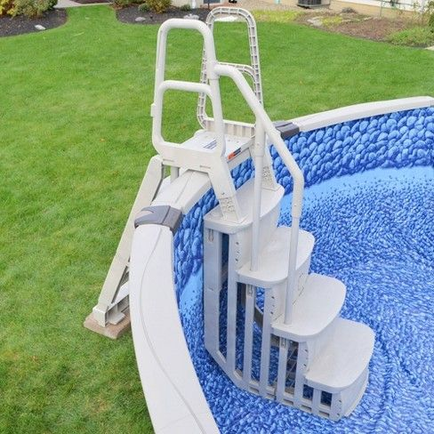 Main Access 200600t Smart Step Pool Entry For Above Ground Pool White Backyard Pool Landscaping Pool Ladder Above Ground Swimming Pools