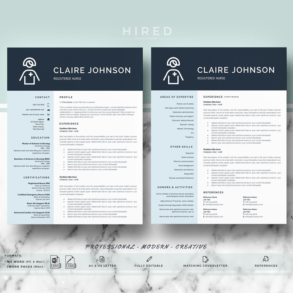 Nurse Resume Template | Doctor Resumes Template for Word & Pages; RN ...