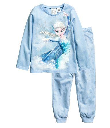Tricot pyjamatop en -broek | Lichtblauw/Frozen | Kinderen | H&M NL