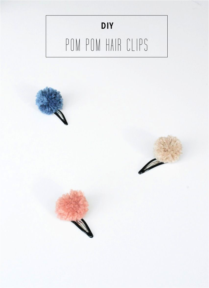 DIY pom pom hair clips. Learn to make this fun craft with scrap yarn. Full tutorial for this project idea is included.