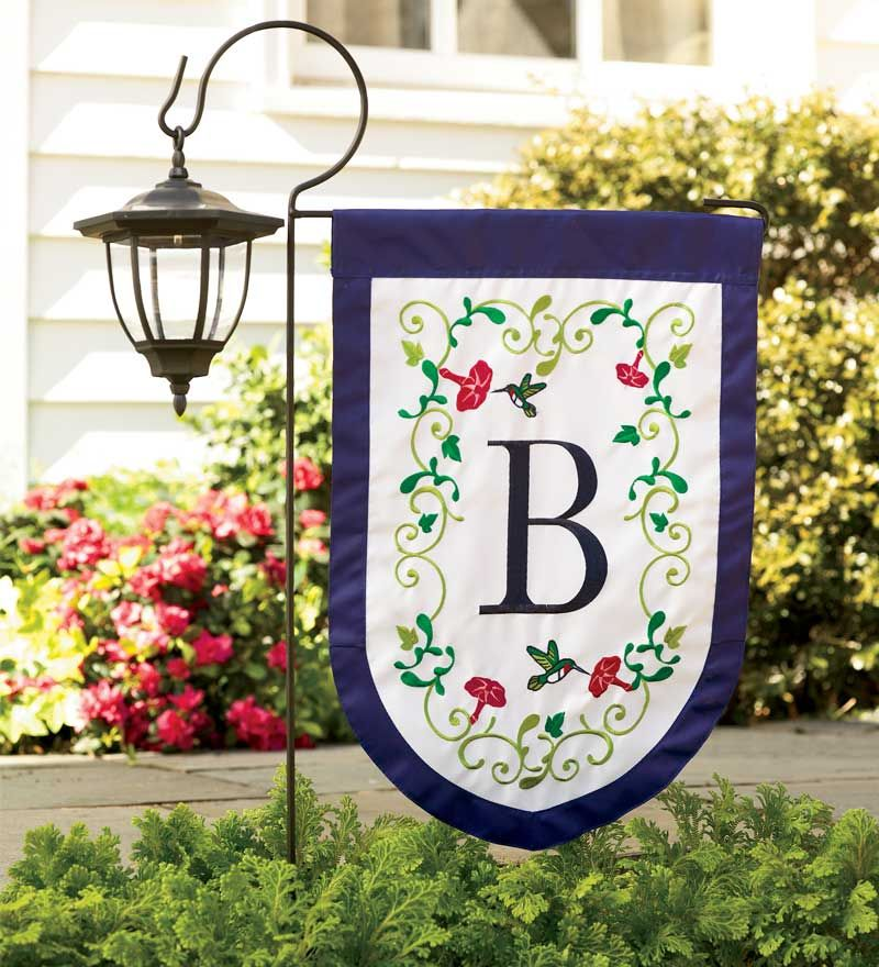 Solar Light Attached To Mini Garden Flag Pole Monogrammed Flag Too Love It Garden Flags Ideas Garden Flag Stand Garden Flags