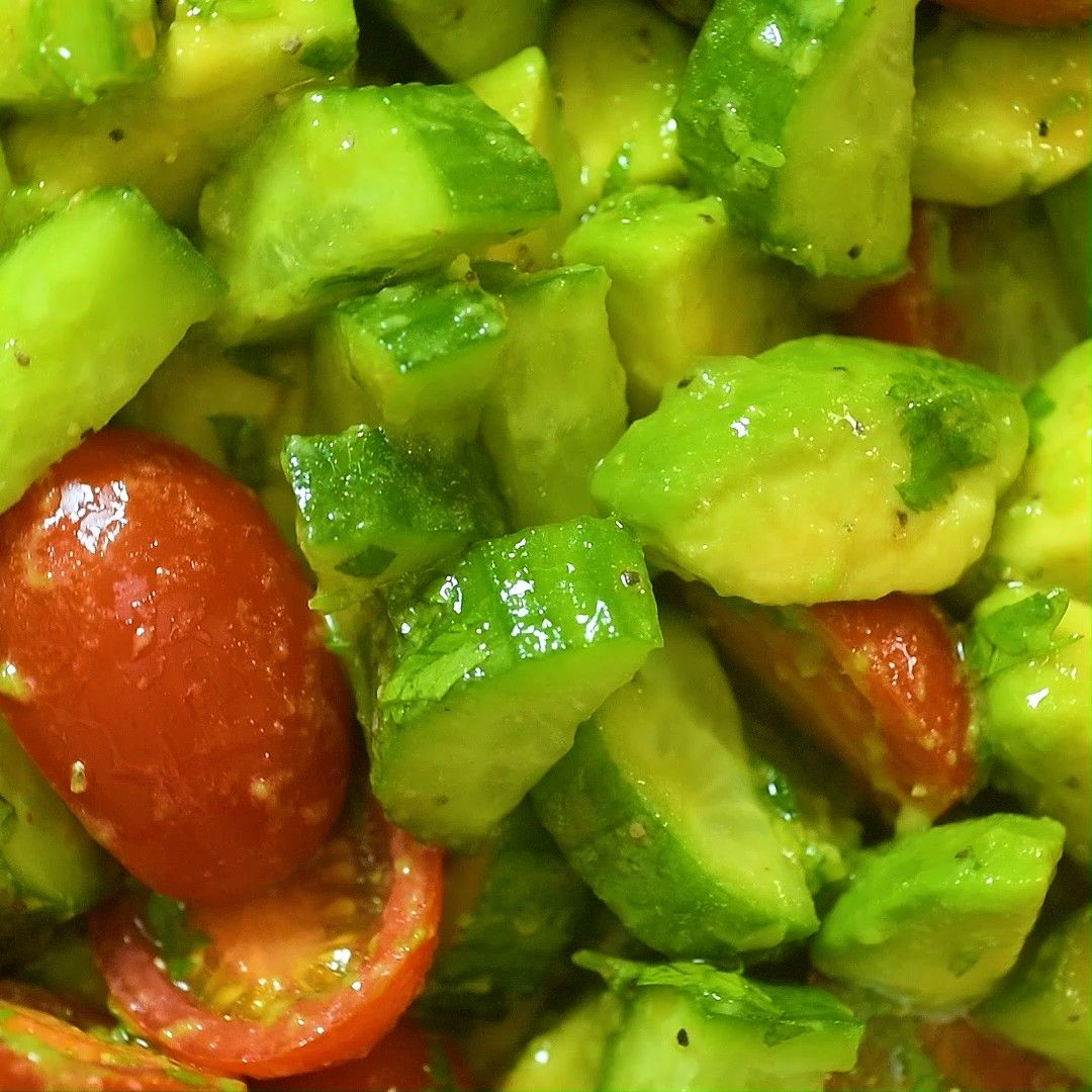 Avocado Salad Just a few common ingredients create this colorful and healthy Cucumber Avocado Salad