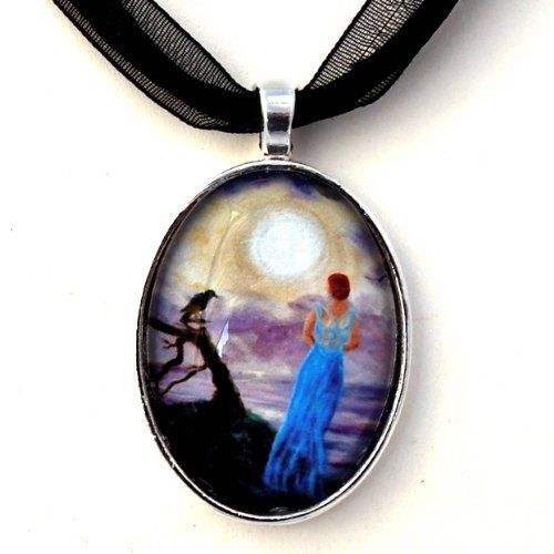 Blue Lady Ghost of Half Moon Bay with Crow Handmade Art Pendant ** Click image for more details.