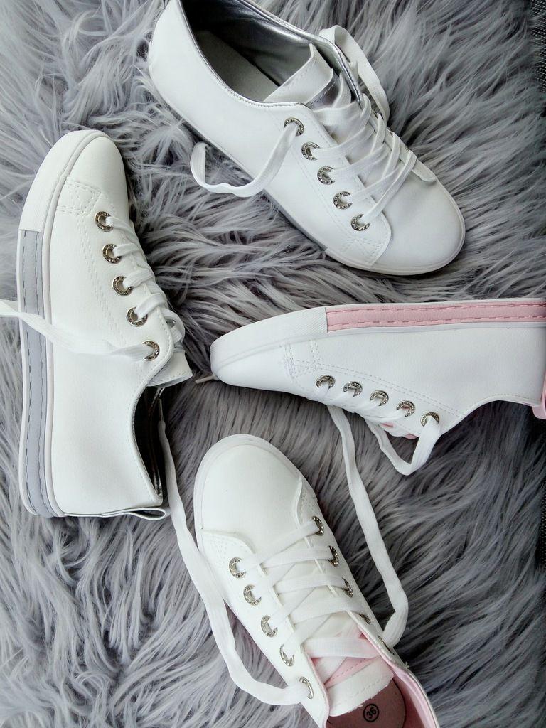 Tenisowki Szary Pasek Cyrkonie Biale Trampki 9 7430781963 Allegro Pl Wiecej Niz Aukcje Sneakers Shoes White Sneaker