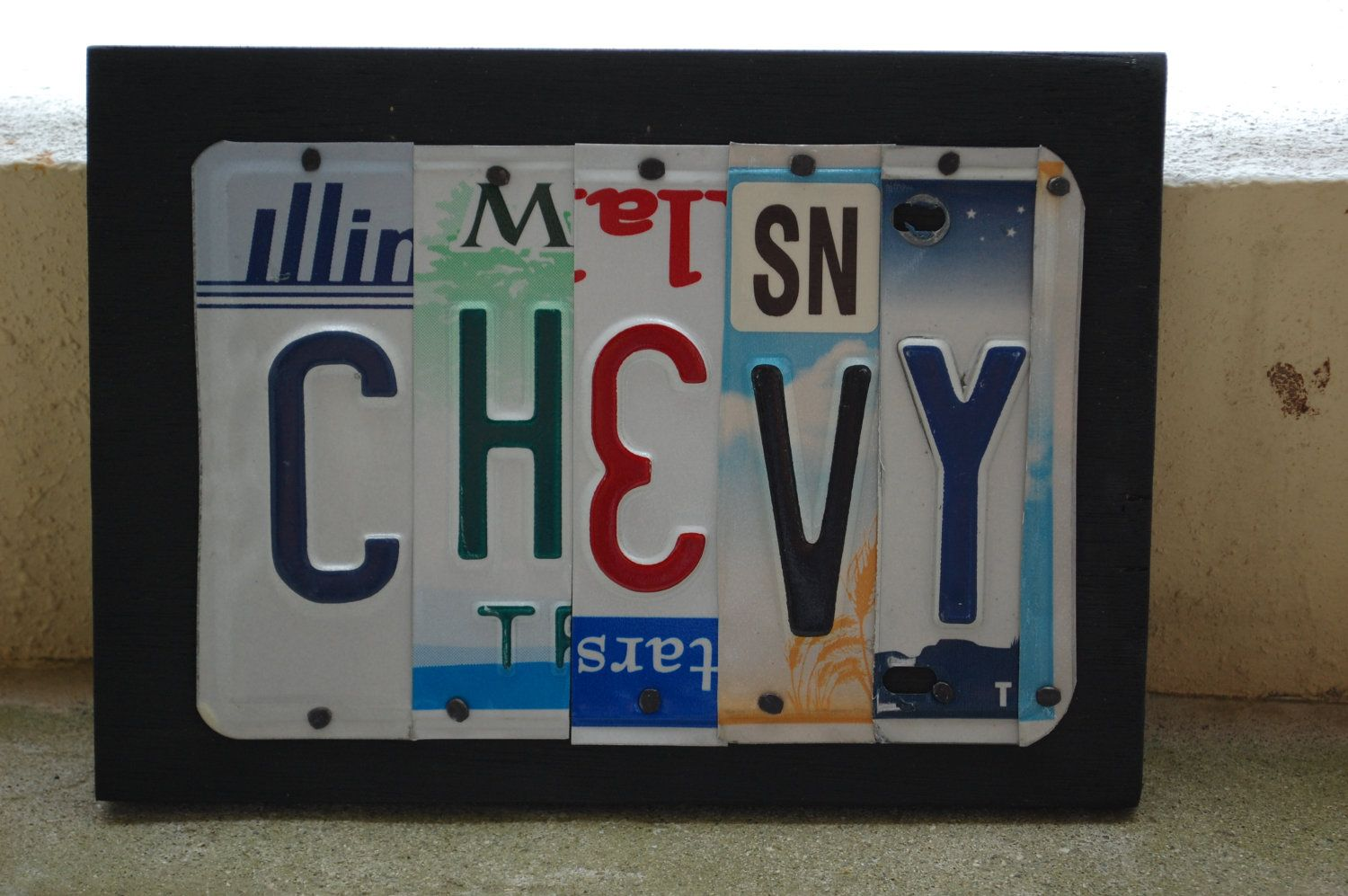 CHEVY License Plate Art Home Decor Wall Hanging By UniquePl8z. 30 USD, Via  Etsy