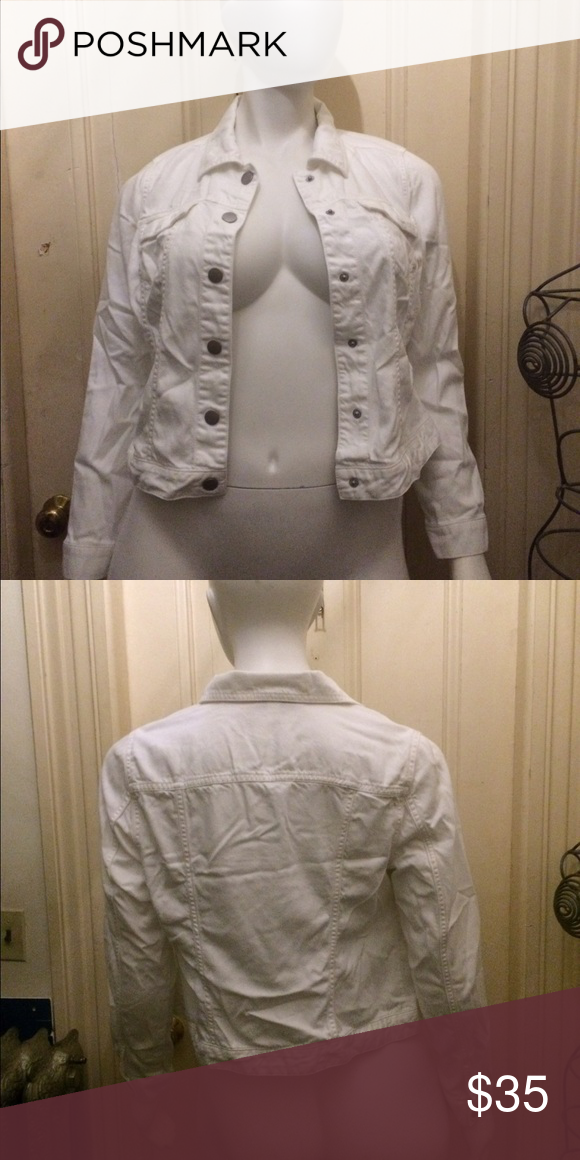 Lane Bryant white denim jacket Lane Bryant white denim jacket. Snap closure. Size 14. 66% lyocell & 34% cotton. Worn twice. Lane Bryant Jackets & Coats Jean Jackets