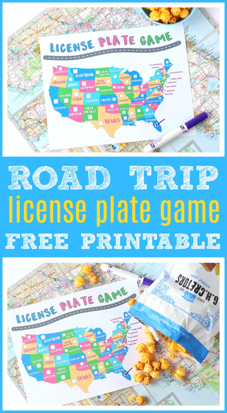 FREE License Plate Game Printable for Kids Road trip