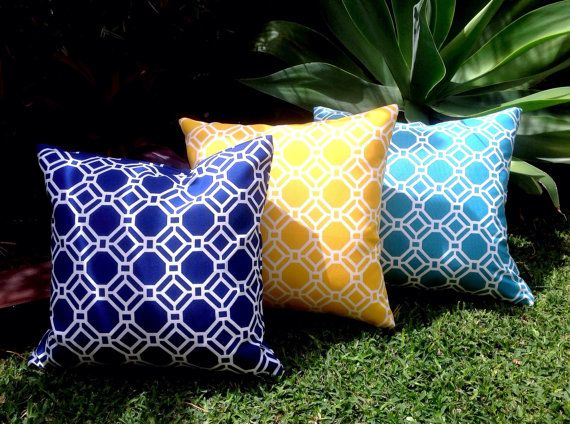 Navy Outdoor Cushions Yellow Outdoor Pillows By IslandHomeEmporium
