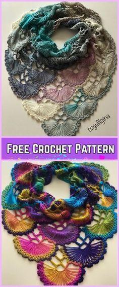 Crochet Fan Shawl Free Pattern-Video Tutorial