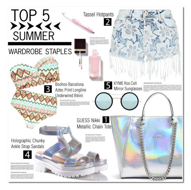 """Top 5 Summer Staples"" by asteroid467 ❤ liked on Polyvore featuring GUESS, Parisian, Boohoo, Glamorous, Kyme, polyvorecommunity, polyvorecontest, summerstaples and PolyvoreMostStylish"